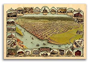 Magnet Bird's Eye View 1902 Eureka California Vintage Style City Map Magnet Vinyl Magnetic Sheet for Lockers, Cars, Signs, Refrigerator 5""