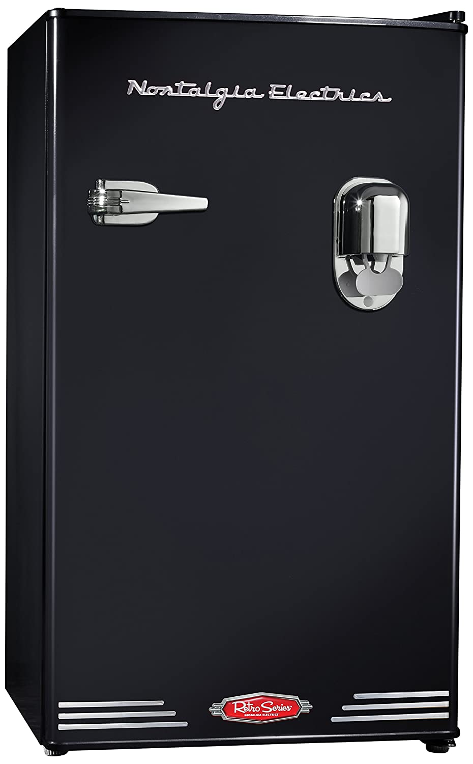 Nostalgia Electrics RRF300DNCBLK 3.0 Retro Series 3.0-Cubic Foot Compact Refrigerator with Exterior Beverage Dispenser, Black