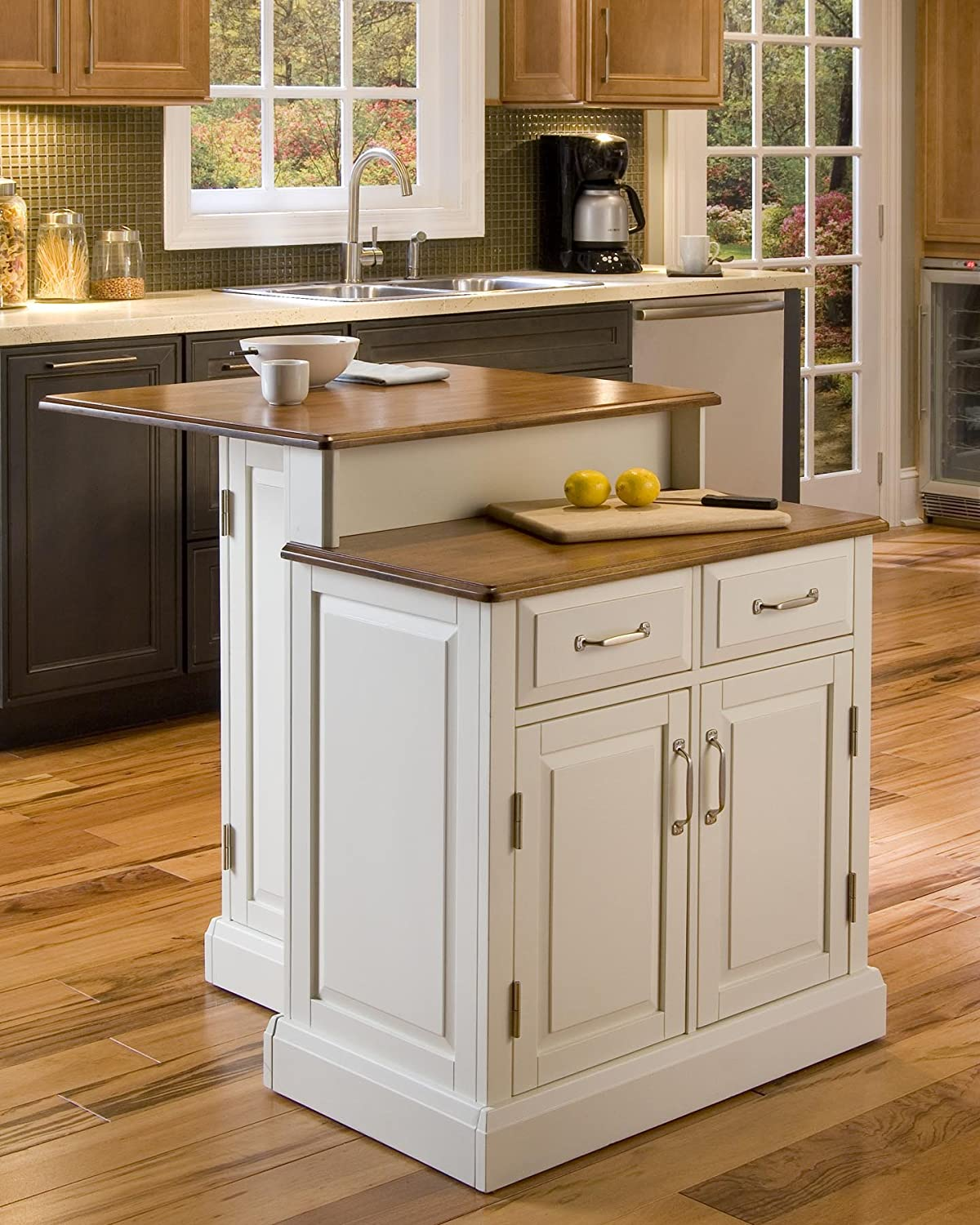 Amazon Com Woodbridge White Kitchen Island By Home Styles Kitchen Islands Carts