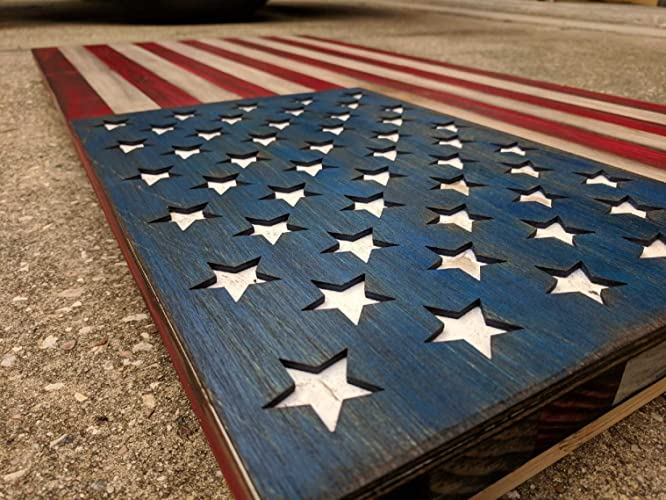 USA Wooden Flag American Wall Decor On Wood Art