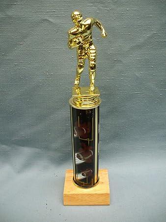 FOOTBALL theme trophy award goal post wood base