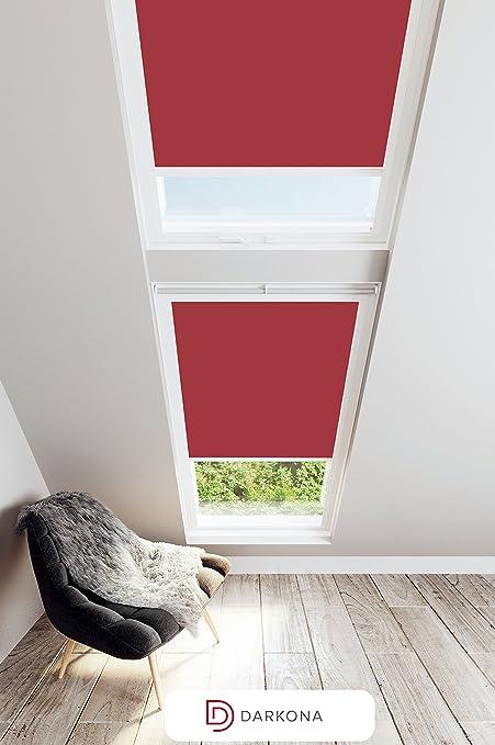 Darkona Stores Occultants Pour Les Fenêtres De Toit Velux Store Occultant Total Nombreuses Couleursnombreuses Dimensions Mk06 Rouge Cadre En