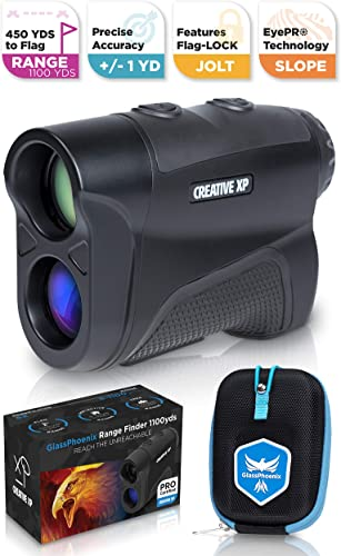 CreativeXP Golf Rangefinder 1100 Yards – Range Finder for Hunting and Archery, 6X Digital Rangefinders with Slope Mode, Pro Flag-Lock and Angle Compensation Case Holder Hand Strap