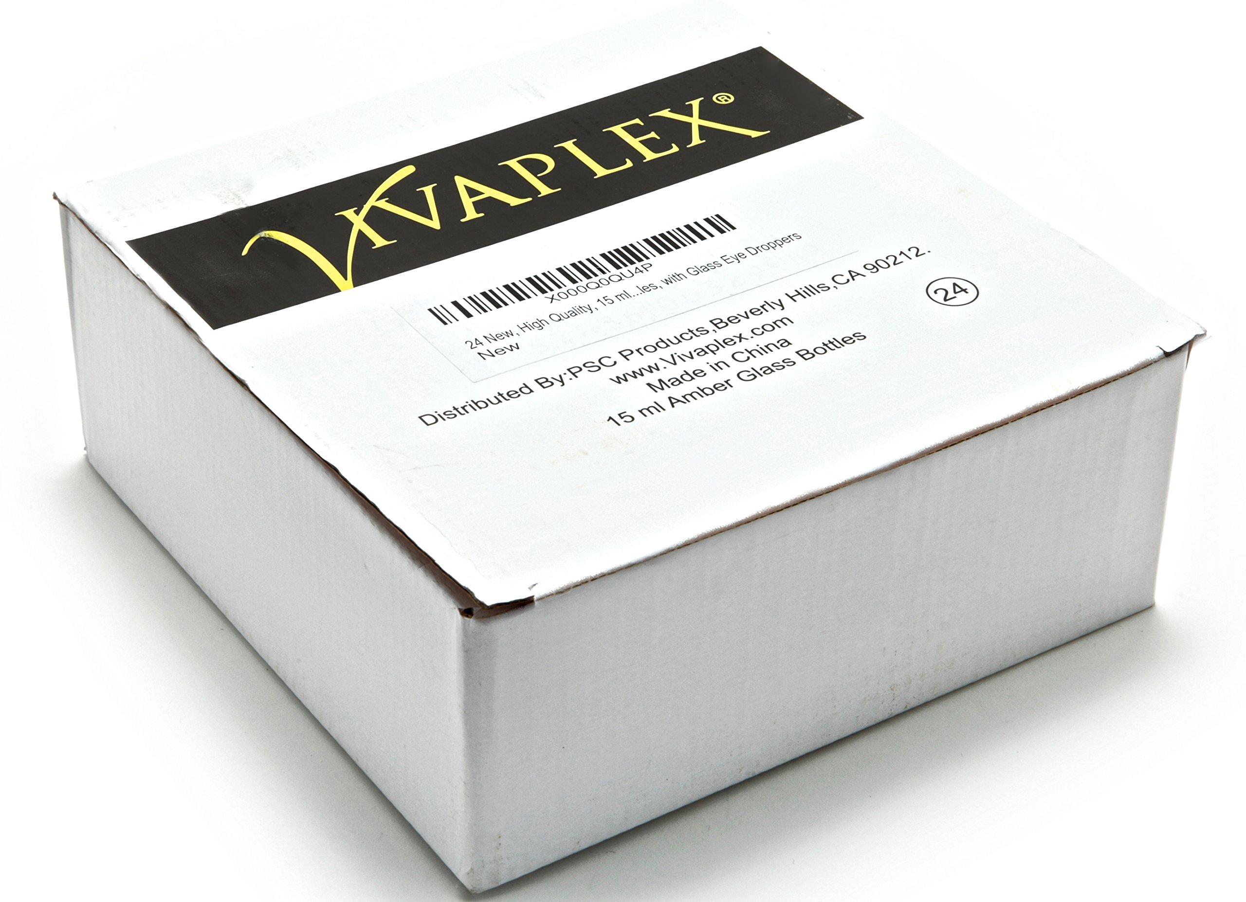 Vivaplex VAD15-24 24, Amber, 15 ml (1/2 oz) Glass Bottles, with Glass Eye Droppers by Vivaplex (Image #2)