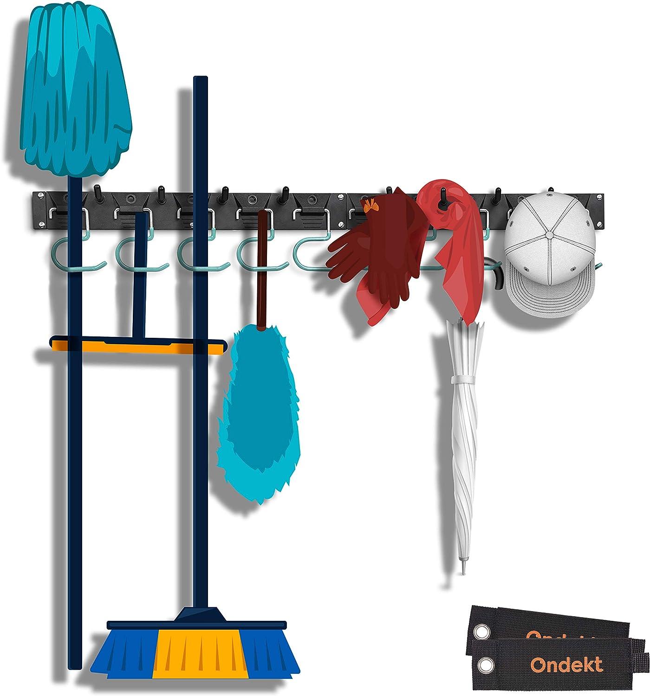 Garage Tool Organizer – 64in Adjustable Garden Storage Wall Mount Rack - Heavy Duty Steel Hangers and Plastic Hooks – Large Load Capacity – Easy Installation – Extra Bonus: 2 HD Storage Straps