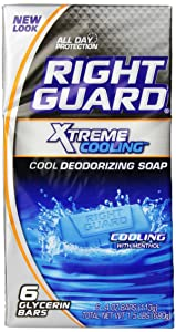 Right Guard Total Defense 5 Deodorizing Soap Cooling Bar, 6 Count, 4 Ounce Bars