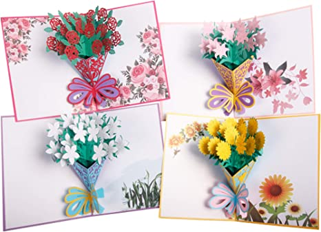 Pop Up Card 3d Greetings Card Flower Thank You Card For Wife Moms Valentines Husband Handmade Bouquet Birthday Anniversaries Gifts 4 Pack Envelopes