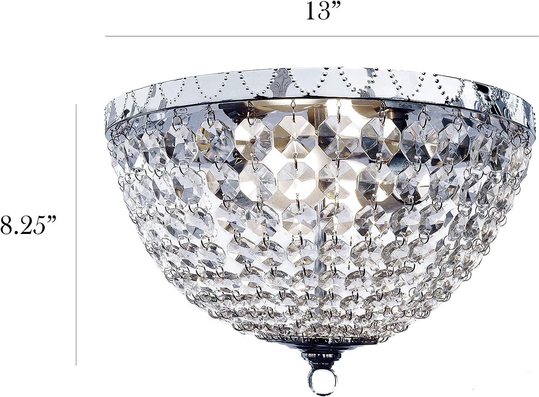 2-Light Flush Mount Ceiling w// Genuine K9 Crystals Tiled Shade 13 in Rose Gold