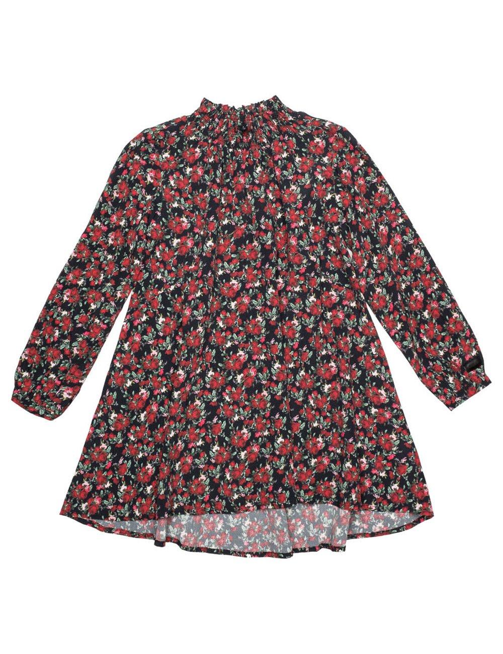 REPLAY Girls Printed Floral Crepe Dress In Black In Size 8 Years Black