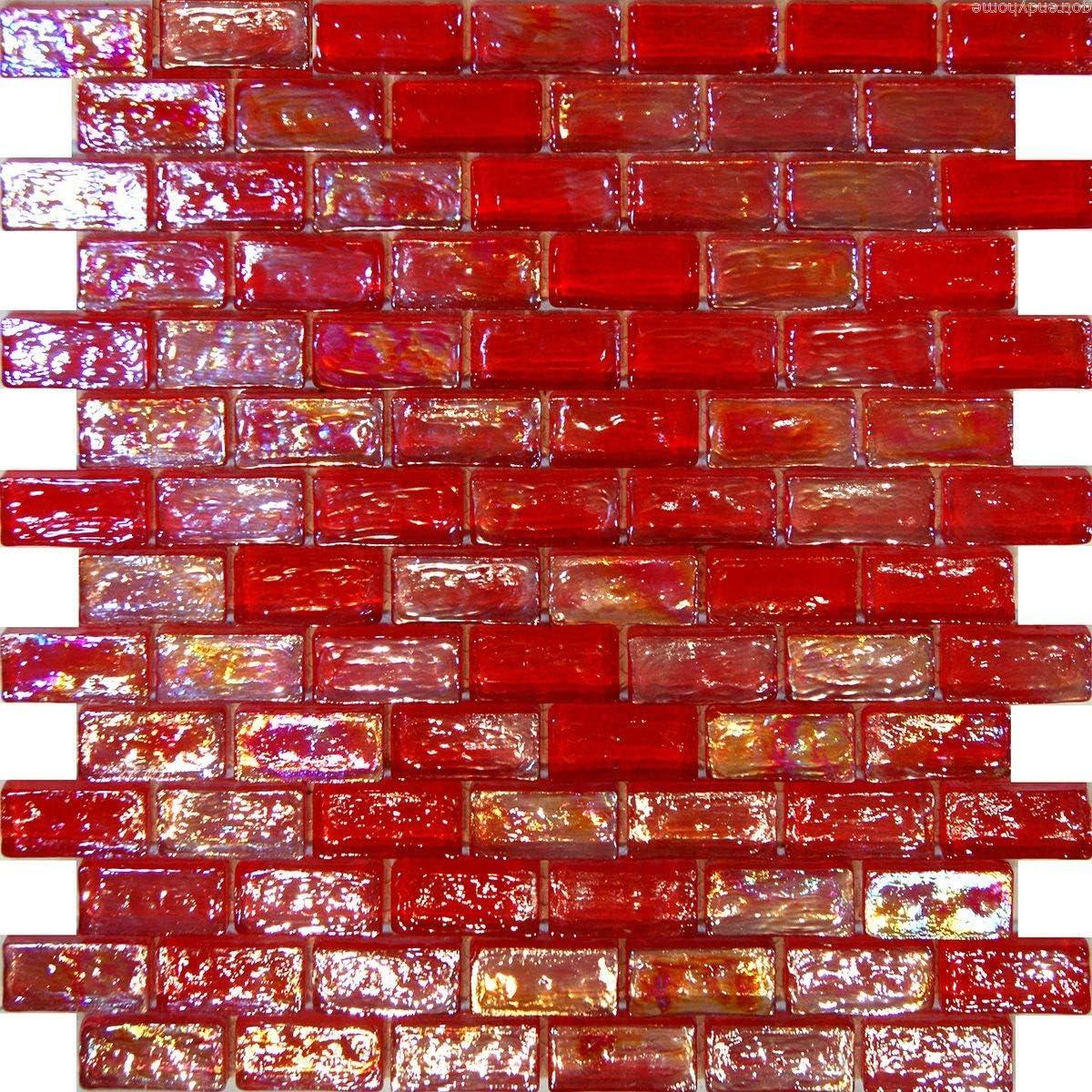 - Amazon.com: Thaisan7, 10SF-Red Iridescent Subway Glass Mosaic Tile