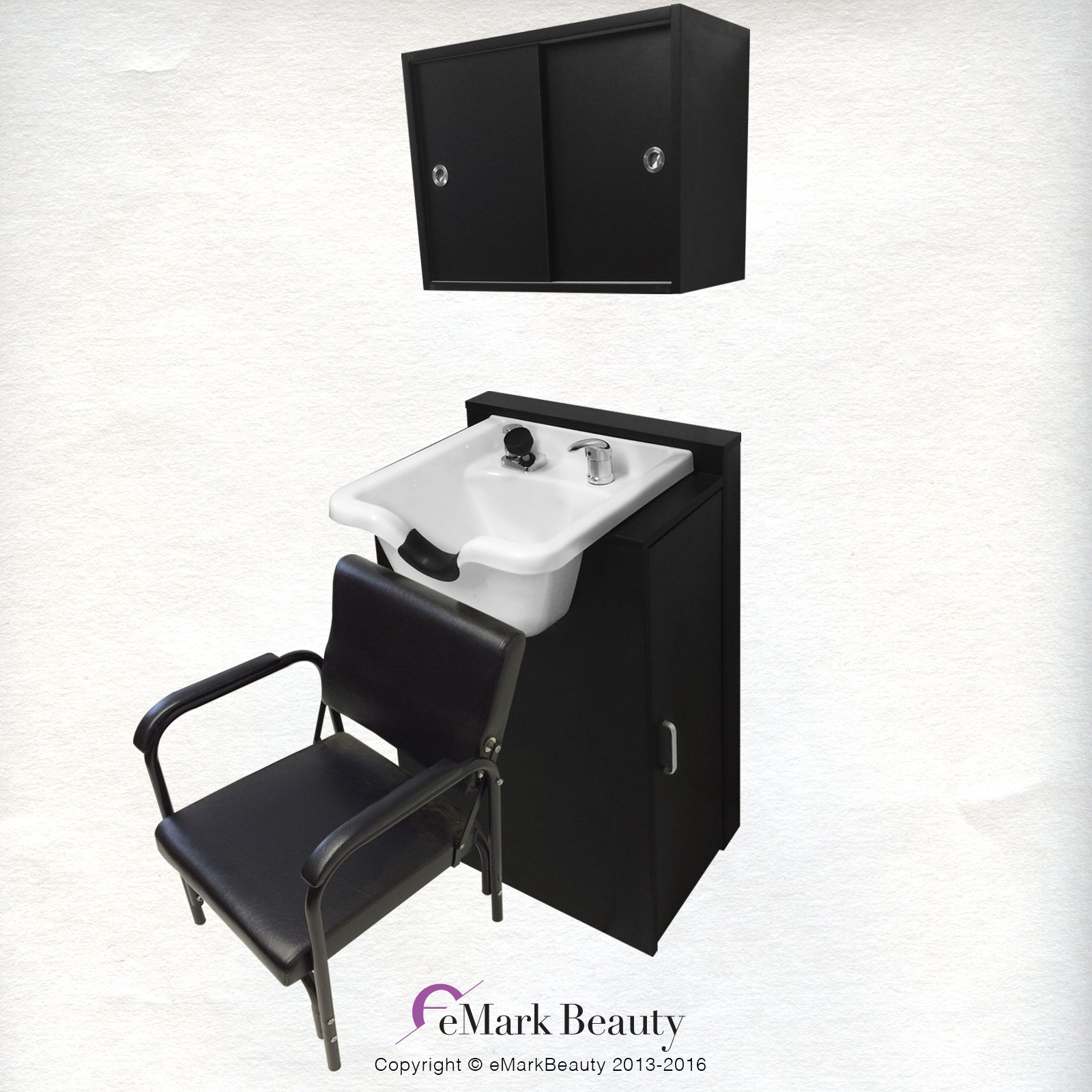 White Shampoo Bowl Towel Storage Cabinet Reclining Chair Shampoo Cabinet