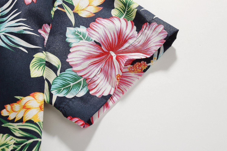 SSLR Big Boys Hibiscus Cotton Short Sleeve Casual Button Down Hawaiian Shirt SN-AFD118-2