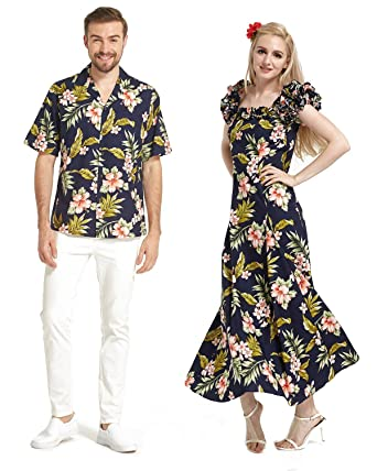 61a28df6441b Made in Hawaii Premium Couple Matching Shirt Fluffy Muumuu Dress in 2 Colors  at Amazon Men's Clothing store: