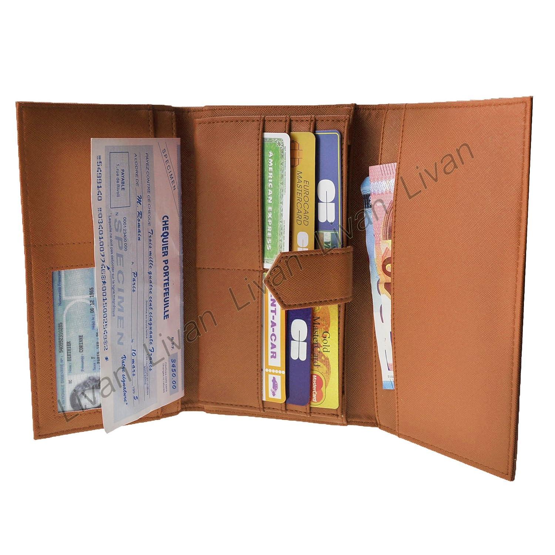 LIVAN/® L0022 Porte ch/équier Portefeuille Compagnon Femme Cognac