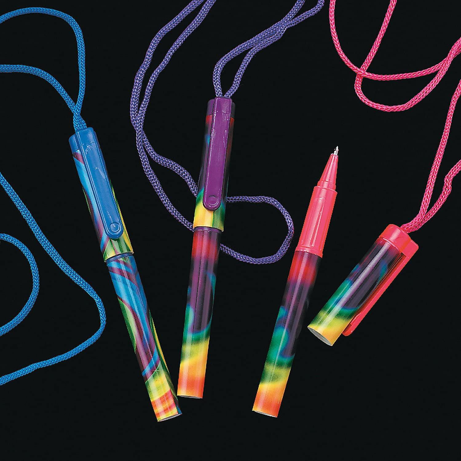 Fun Express Animal Print Pens on a Rope 12 Pack