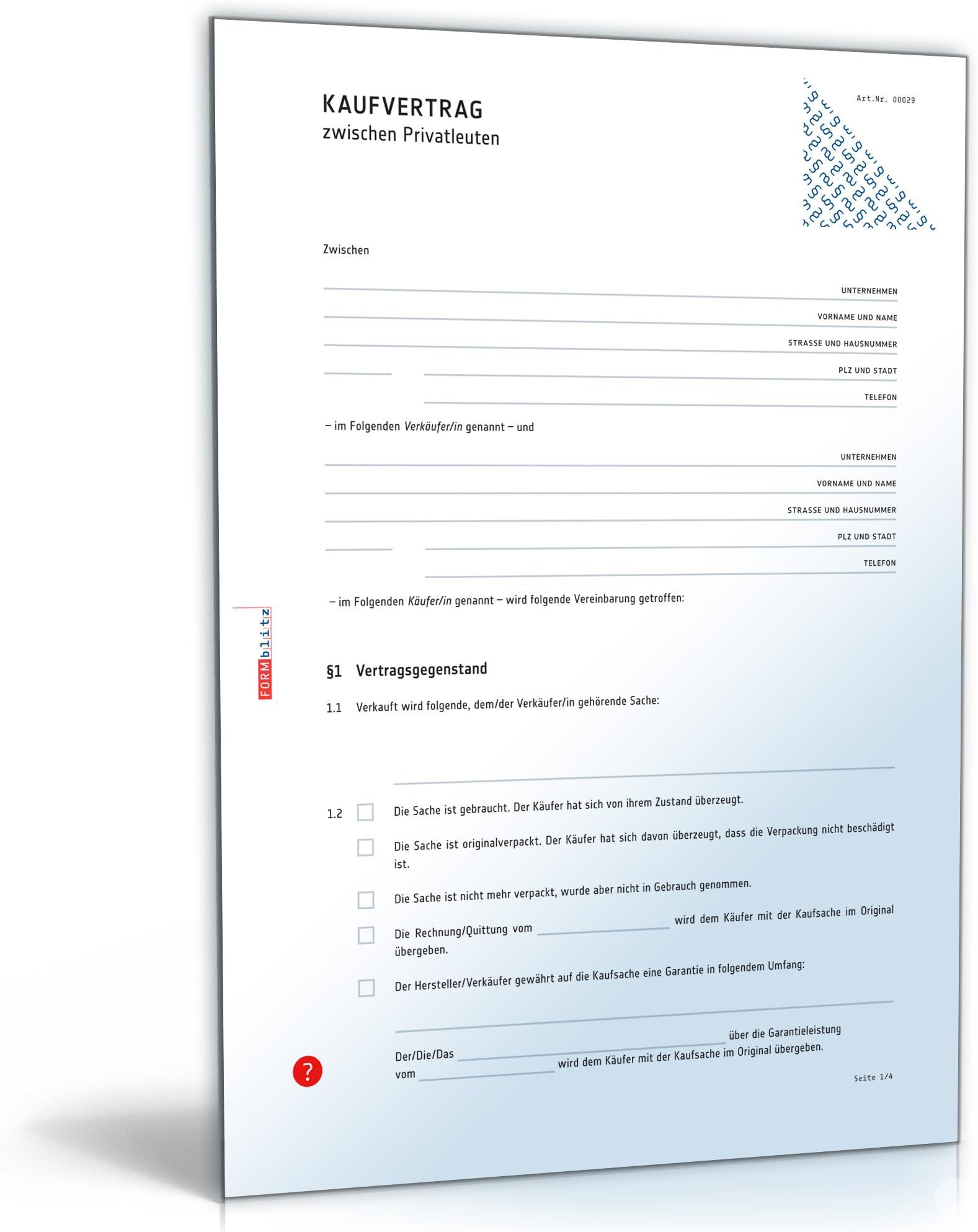Kaufvertrag - Vertrag zwischen Privatleuten (PDF) [Download