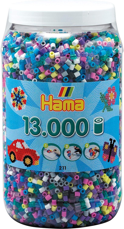 Hama-211-69 Perlas de Planchado Medianas, Aprox. 13.000 Unidades en Caja, 11 Colores Diferentes, Multicolor (211-69): Amazon.es: Juguetes y juegos