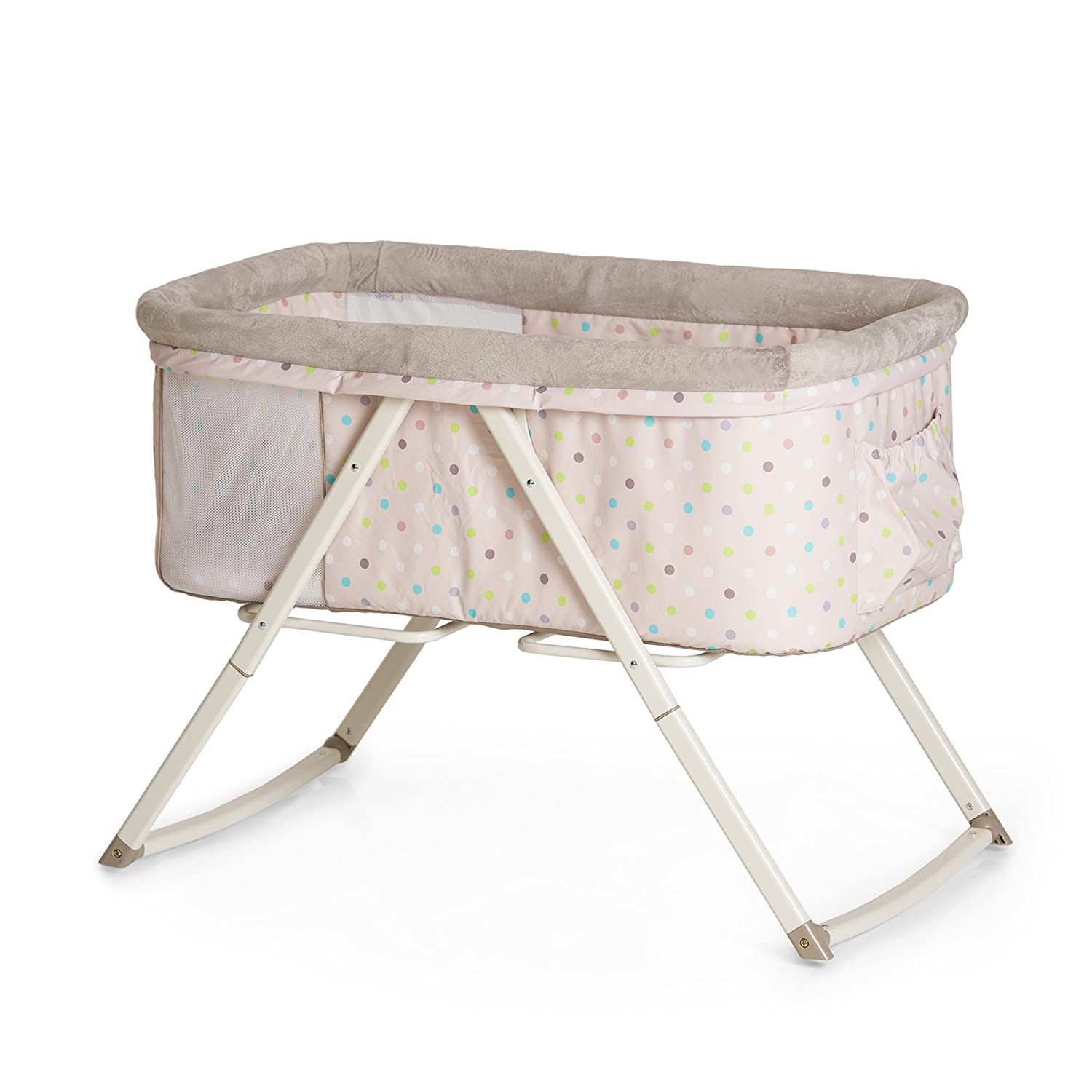 Hauck Dreamer Folding Bassinet, Side by Side sleeper, Moses Basket, Multi Dots Sand 608920