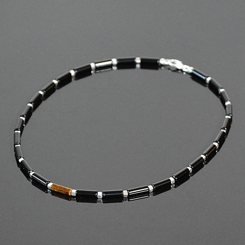 Dangle Earrings Beaded Gemstone Choker Black Onyx Choker Necklace and Earrings Set Choker extender#1296 16 inch Black Agate Pendant