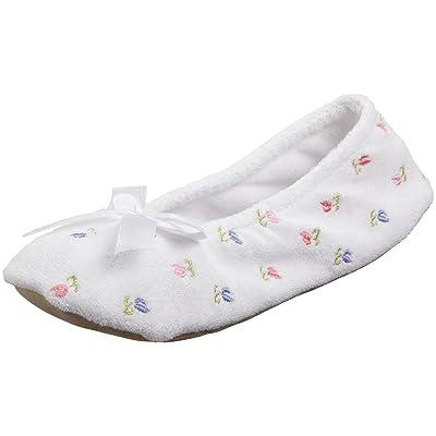 isotoner Women's Embroidered Terry Ballerina Slipper, White, Large | Slippers