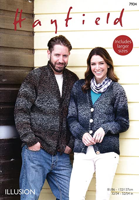 aae6509d8 Sirdar 7934 Knitting Pattern Womens Mens Cardigans in Hayfield Illusion DK   Amazon.co.uk  Kitchen   Home