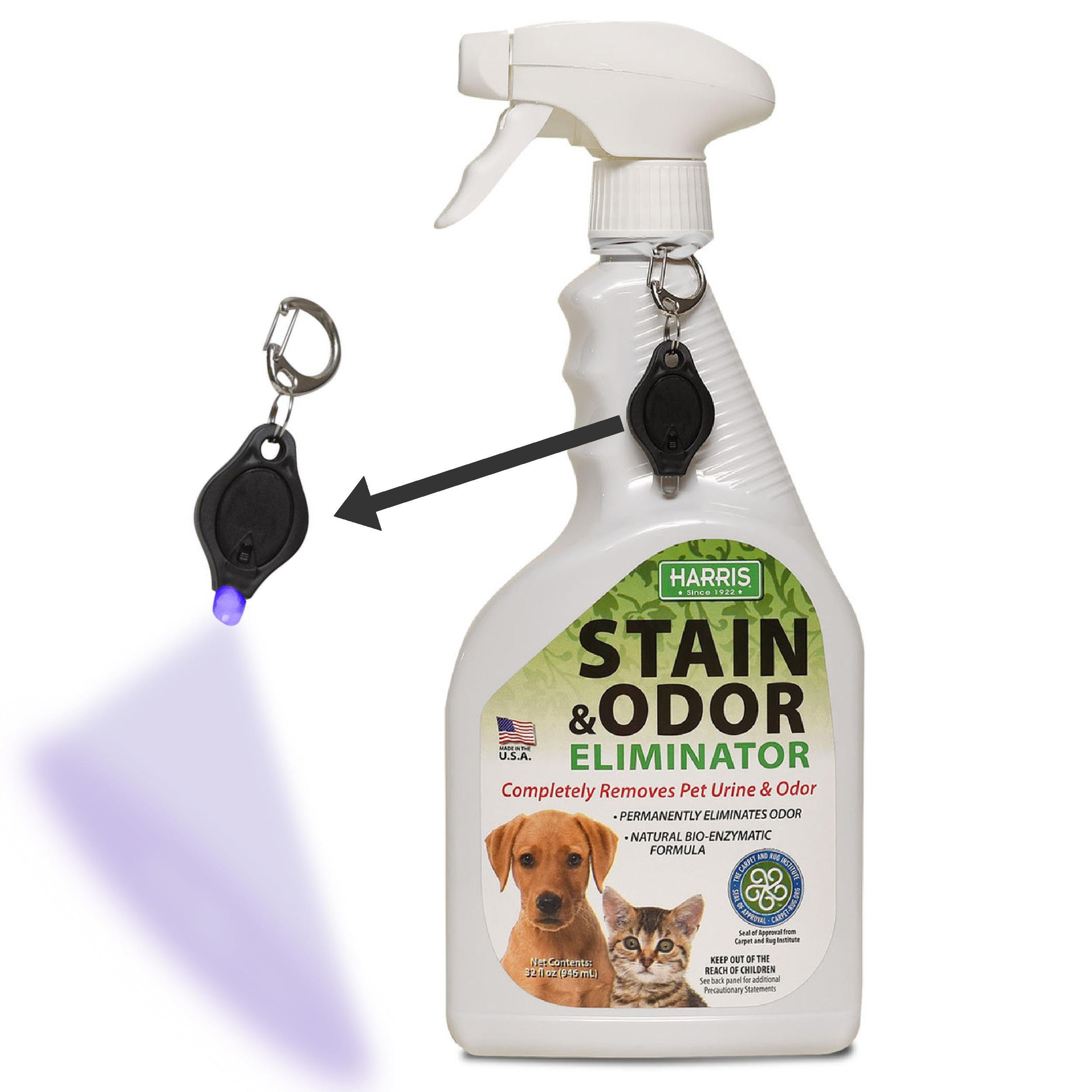 Harris Pet Stain & Odor Remover Natural Enzyme Spray Free Stain Detection Blacklight, 32oz Dog Cat Urine
