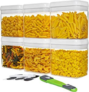 NOLOSHA Airtight Food Storage Container Set - Kitchen & Pantry Organization, Dry Food Containers - BPA-Free - Clear Plastic Canisters with Improved Lids - 6 PC of 1.5L, Labels, Marker & Measured Spoon