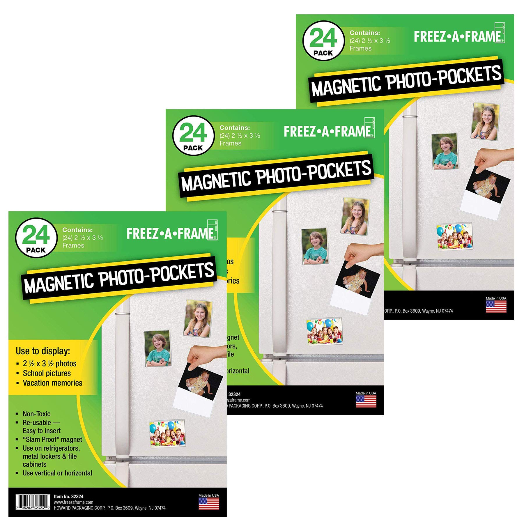 Freez-A-Frame Clear Magnetic Picture Frame Pockets For Refrigerator School Locker, or any Magnetic Surface - 72 Pack