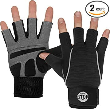 Fingerless Gloves Black Weight Lifting Wrist Wrap Support Sport Accessories
