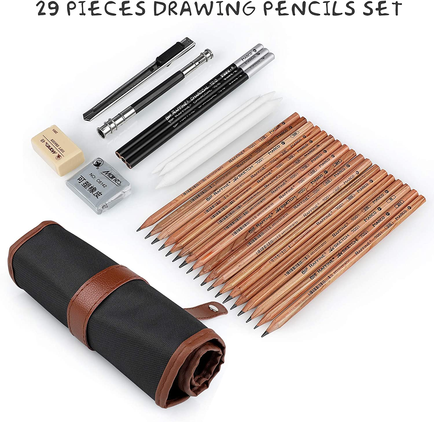 Yordawn Drawing Pencils Set Art Supplies 29 Pieces Sketch Pencils Kit with Graphite Pencils Charcoal Pencils Blending Stump Kneaded Eraser Sketching Pencils for Artists Beginners