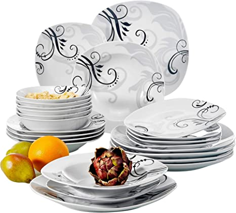 Amazon Com Veweet 24 Piece Stoneware Dinnerware Sets Decal Patterns Porcelain Kitchen Plates With Dinner Plate Soup Plate Dessert Plate Bowl Service For 6 Zoey Series Dinnerware Sets