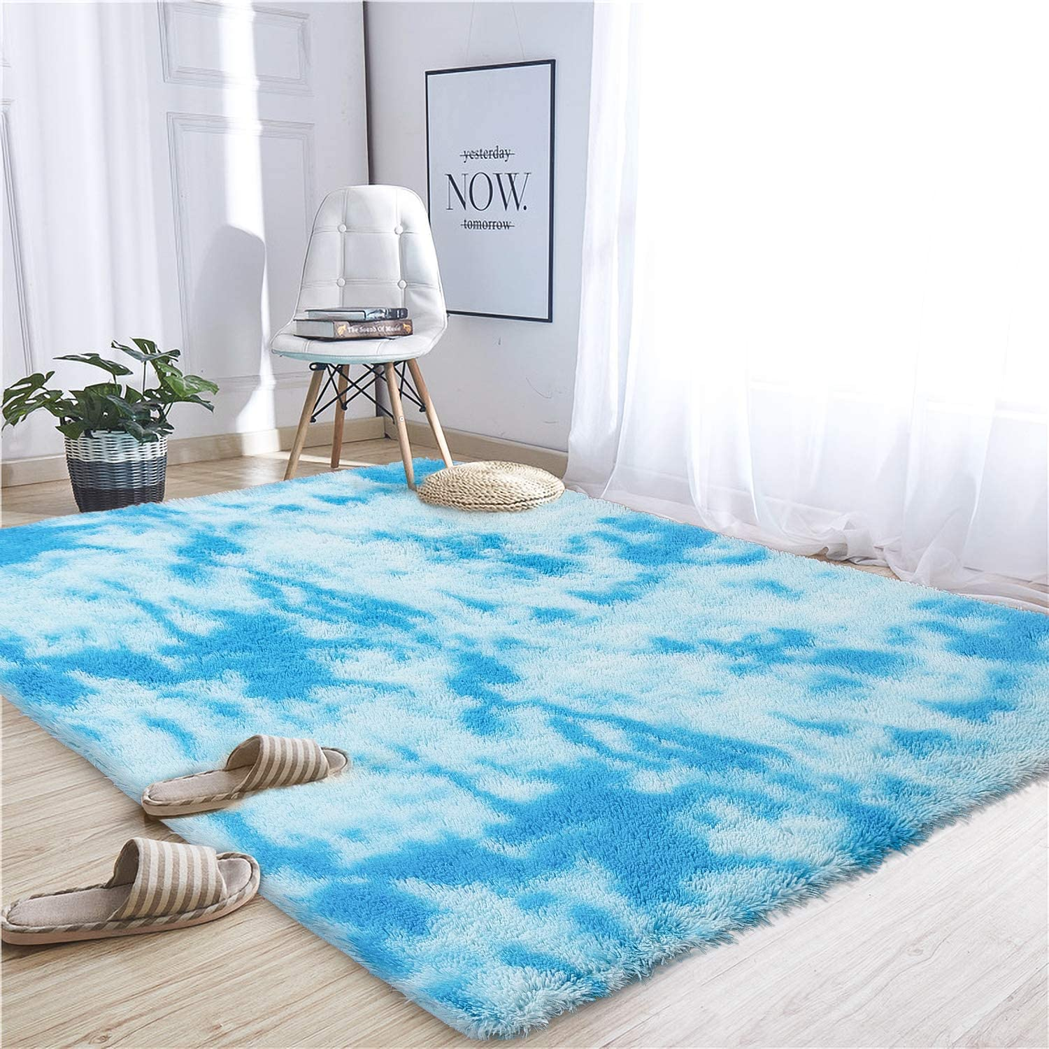 Noahas Abstract Shaggy Rug for Bedroom Ultra Soft Fluffy Carpets for Kids Nursery Teens Room Girls Boys Thick Accent Rugs Home Bedrooms Floor Decorative, 4 ft x 6 ft, Sky Blue