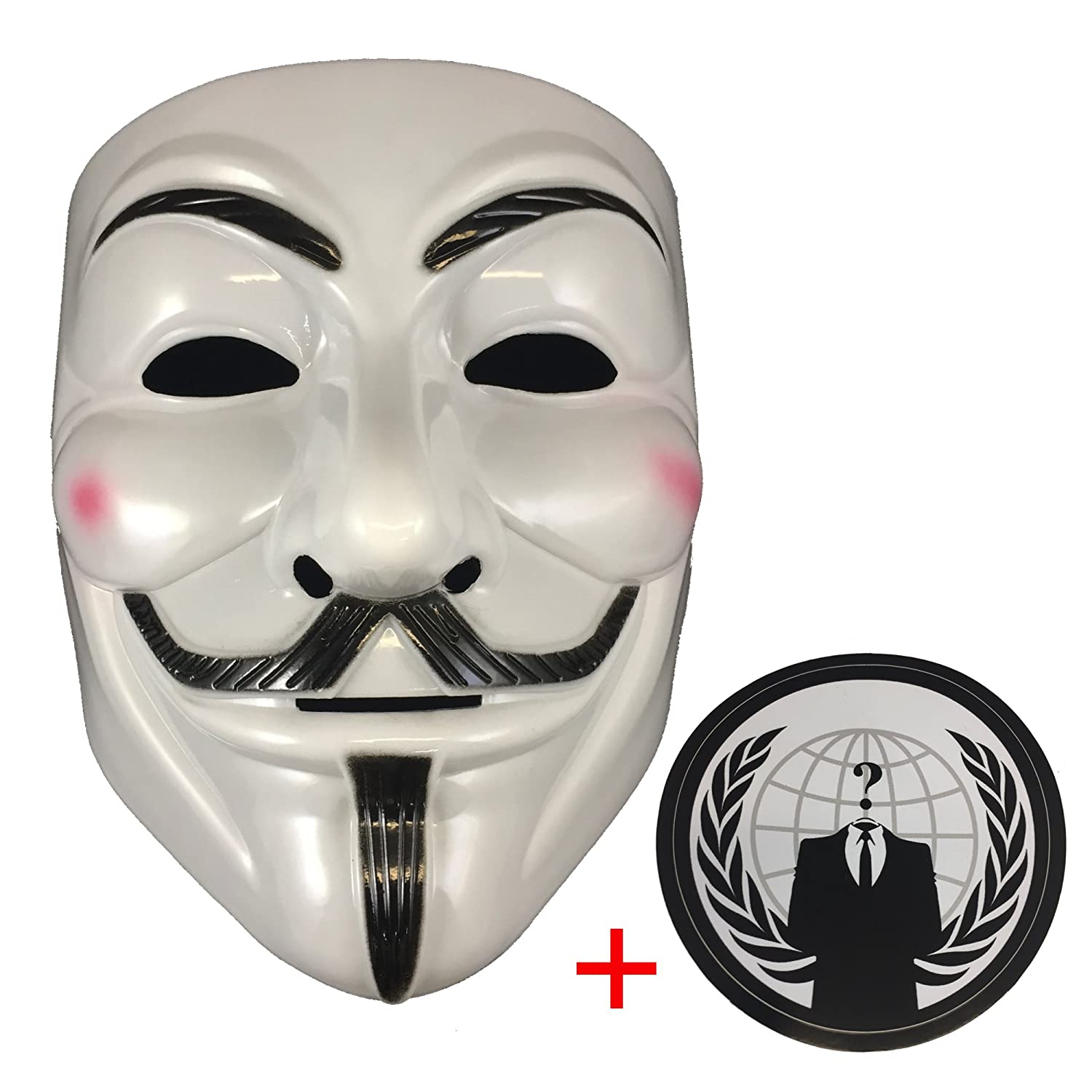 Jessters Anonymous Mask Plus Sticker, Guy Fawkes V for Vendetta, White Hacker Mask Bundled With Sticker. Liberty Trade Co.