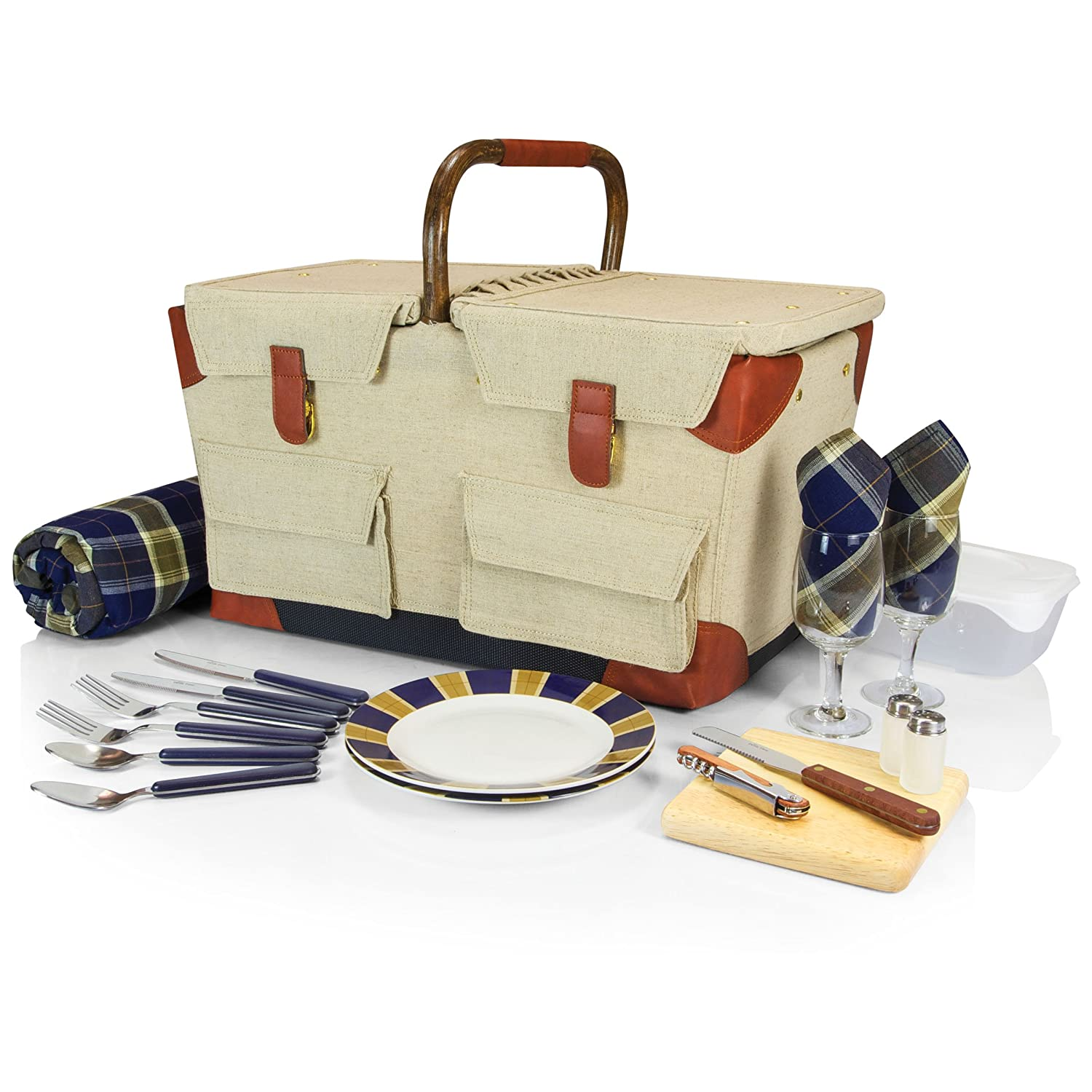 Picnic Time 'Pioneer' Original Design Picnic Basket with Deluxe Service for Two, Tan/Navy