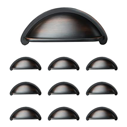 Oil Rubbed Bronze Kitchen Cabinet Pulls 3 Inch Bin Cup Drawer Handles 10 Pack Of Kitchen Cabinet Hardware