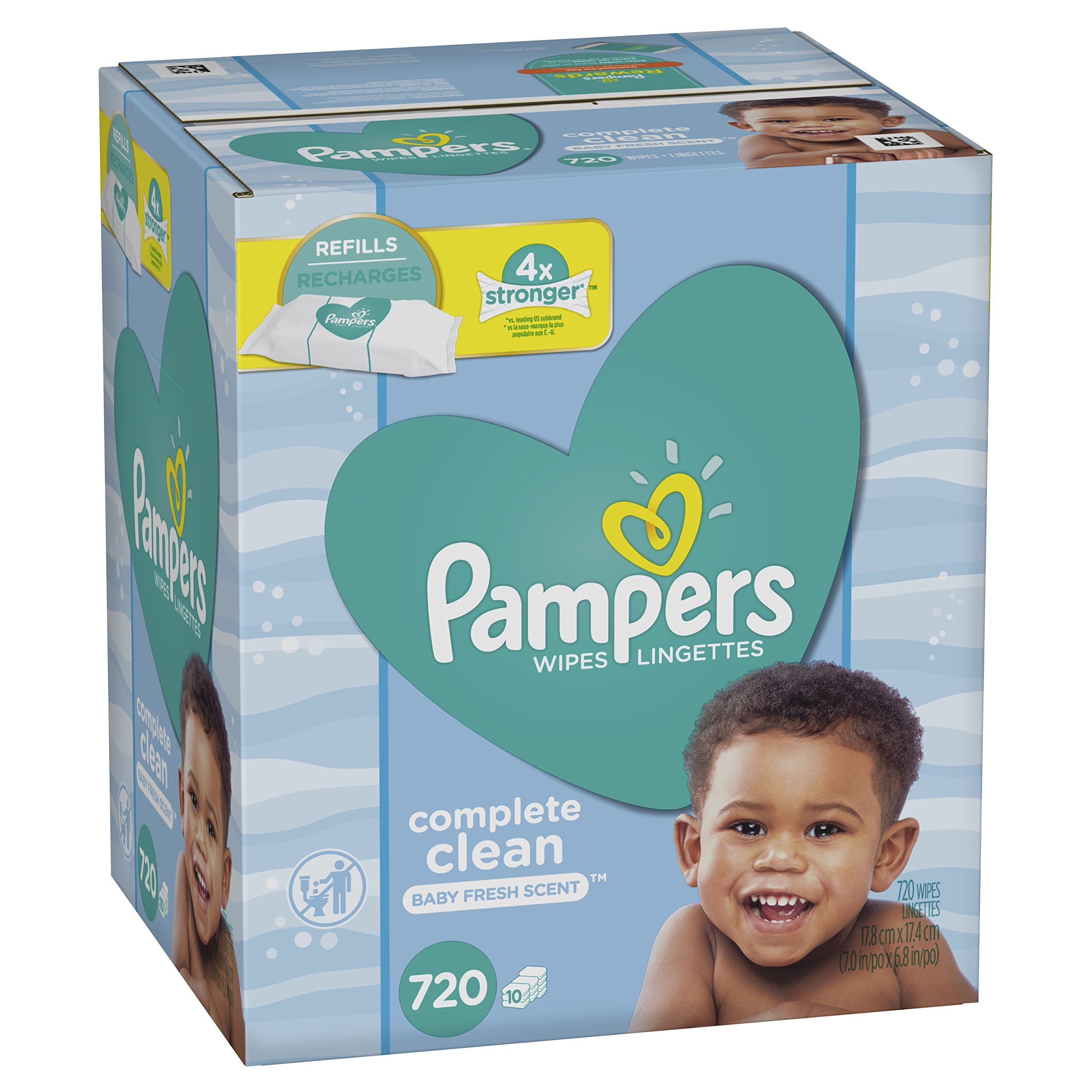 Baby Wipes, Pampers Baby Diaper Wipes, Complete Clean Scented, 10 Refill Packs for Dispenser Tub, 720 Count by Pampers