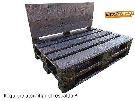 1 x Sofá Hecho con Palets de madera Color Nogal - Requiere atornillar el respaldo