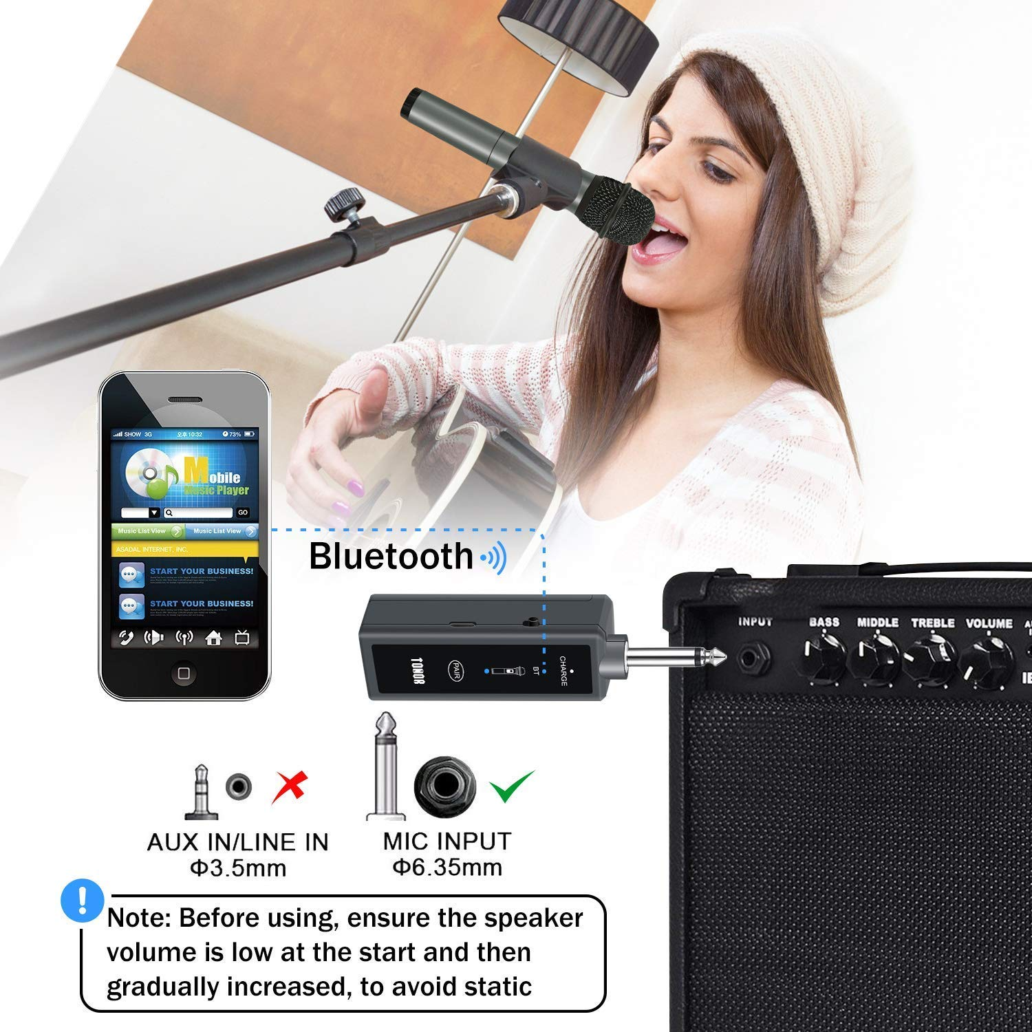 TONOR UHF Wireless Microphone Handheld Mic with Bluetooth Receiver 1/4  Output for Conference/Weddings/Church/Stage/Party/Karaoke, 80ft