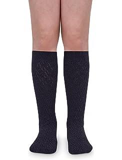 1dcd51579 Jefferies Socks Girls School Uniform Pointelle Design Knee High Socks 2 Pair  Pack