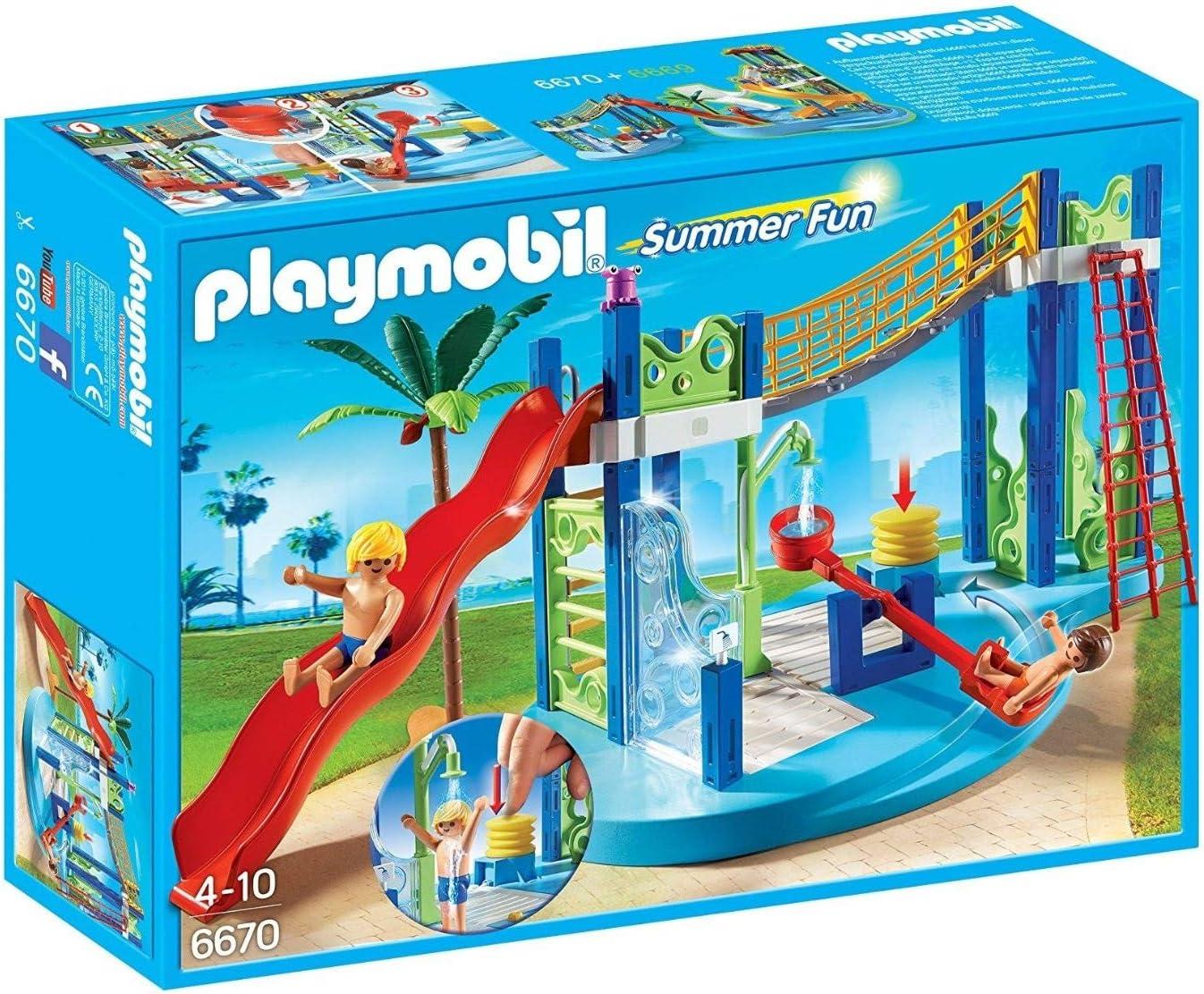 Playmobil Summer Fun Water Park Play Area Juego de construcción - Juguetes de construcción (Juego de construcción, Multicolor, 4 año(s), Niño/niña, 10 año(s), 24 cm)