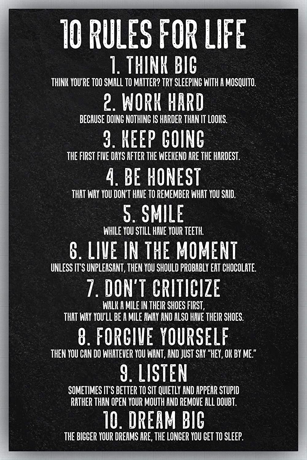 10 Rules for Life Funny & Inspirational Wall Art | 11x17 Motivational Poster for Home, Bedroom, Office, Gym, Classroom Décor, or Any Room | Set 3