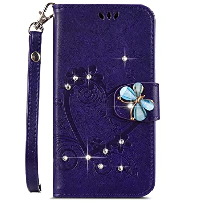 IKASEFU Compatible with Samsung Galaxy J7 Pro 2020 Case,Shiny butterfly Rhinestone Emboss Love Floral Pu Leather Diamond Bling Wallet Strap Case with Card Holder Magnetic Flip Cover,purple: Musical Instruments