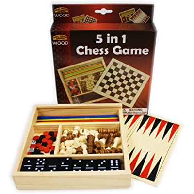 Homeware 5-in-1 Wooden Travel Game Set: Toys & Games