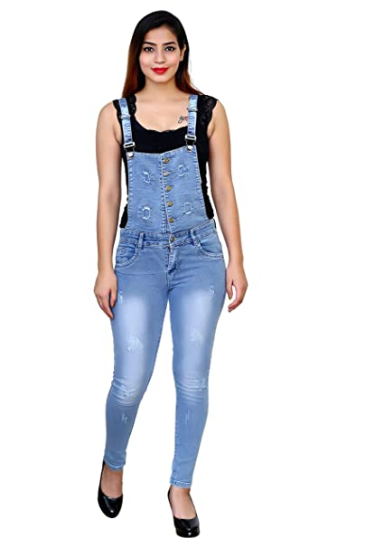 324cae44386d FNOCKS Women Girls Ladies Slim Fit Denim Casual Dungaree  Amazon.in ...