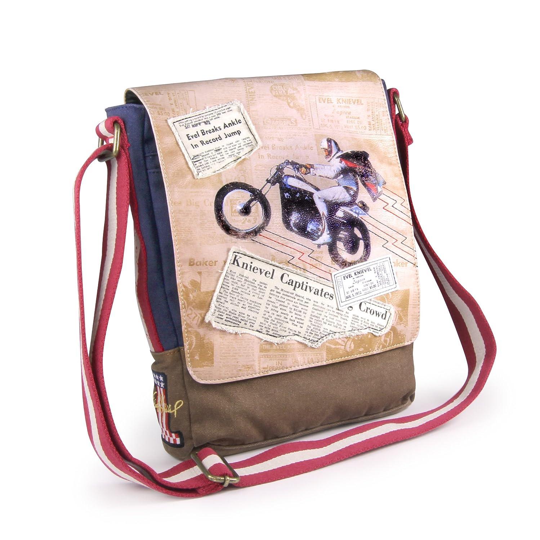 conveniente Evel Evel Evel Knievel Legacy Canvas Messenger Bag  oferta especial