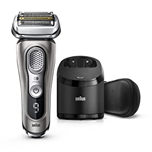 Braun Series 9 9385cc Latest Generation Electric Shaver, Rechargeable & Cordless Electric Razor for Men - Clean&Charge Station, Leather Travel Case