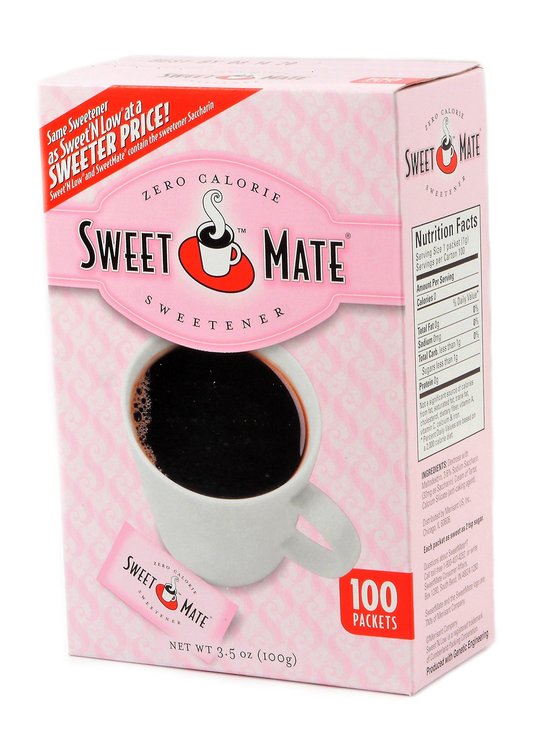 Sweet Mate Sweetener Zero Calories, Saccharine, Pink, 100-Count, 4Pk