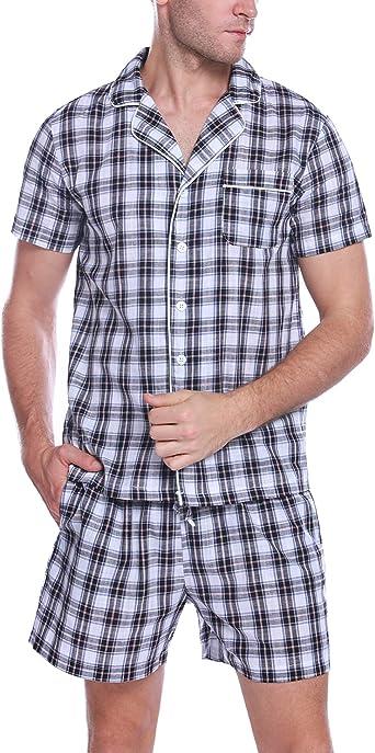 Aibrou Pijamas Hombre Verano Corto Pijama Hombre Algodon Ropa para Dormir de Manga Corta 2 Piezas Camiseta y Pantalones Cortos para Hombres
