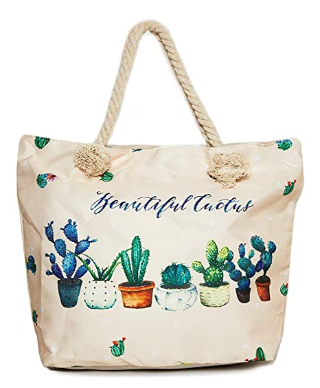 9d06fd3c0167 Cactus Beach Shoulder Tote Bag - Cactus Beautiful Life Weekender Travel Bag  - Comes with Quick Reach Zipper Pouch
