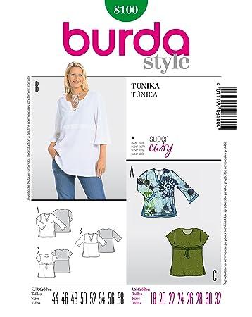 Burda Schnittmuster 8100 Tunika Gr. 44-58: Amazon.de: Küche & Haushalt